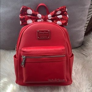Loungefly Red,White Minnie with Bow Mini Backpack